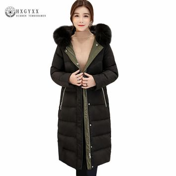 New 2017 Long goose feather puffer Jacket Women Winter White Duck Down Coat Loose Warm Real Fur Collar Hooded Parkas Okb118
