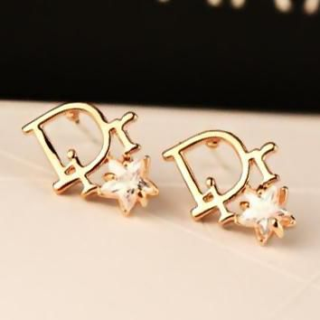 DIOR Fashion Women Letter Star Zircon Earrings Accessories Jewelry Golden I13642-4