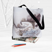 Surreal artistic Tote bag – art painted nature bag – snail woman mushrooms shrooms