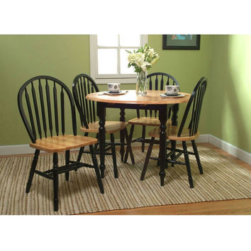 5 Piece Casual Classic Dining Set in Black / Natural Wood Finish