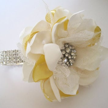 Lemon Yellow and Ivory Satin Rhinestone Wrist Corsage Bracelet Bride Bridesmaid Mother of the Bride Prom with Rhinestone Accent. Custom Made