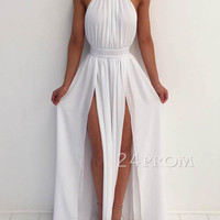 Simple white A-line backless long prom dress, evening dress