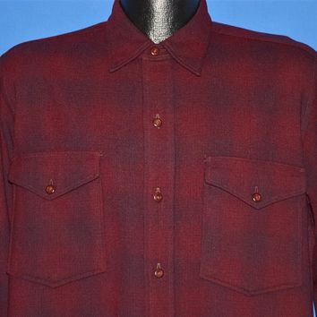 50s Pendleton Red Plaid Wool Button Down shirt Large