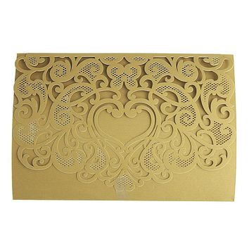 Rectangular Laser-Cut Pearlescent Scroll Swirl Heart Invitations, Gold, 7-1/4-Inch, 8-Count