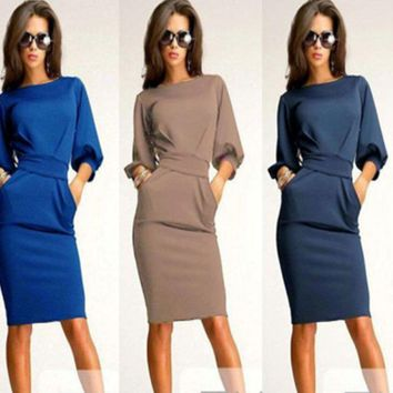 Plain Sleeve A-Line Dress