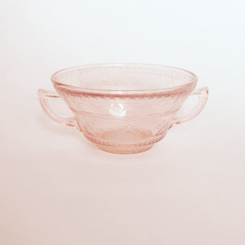 Pink Depression Glass Sugar | 60s Pink Glass Sugar Bowl | Vintage Boho | Shabby Cottage Chic | Boho Home