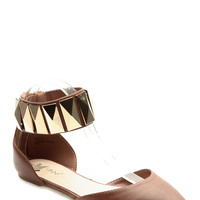 Chestnut Faux Leather Studded Anklle Strap Pointed Toe Flats
