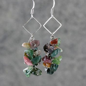 Agate square hoop dangling chandelier earrings Bridesmaid gifts Free US Shipping handmade Anni designs