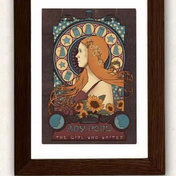 Doctor Who poster Amy /TARDIS / art nouveau