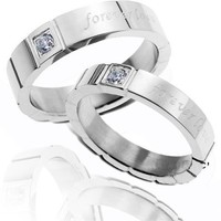 Eternal Love Ring Charm of Stainless Steel for Couple (4mm)