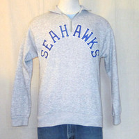 Vintage 80s SEATTLE SEAHAWKS Stitched Letters Soft Unisex Medium Lightweight Grey Jumper SWEATSHIRT