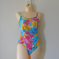 One Piece Bathing Suit One Piece Swimsuit One Piece Swim Suit 90s Bathing Suit 90s Swimsuit Womens Swimsuit Floral Bathing Suit Hot Pink