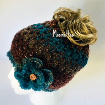 Handmade Messy Bun Hat Ponytail Nordic Beanie Teal Brown Rust Wood Button Crochet Flower