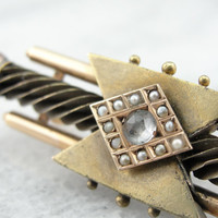 Etruscan Revival Gothic Victorian Gold, Diamond and Pearl Bar Pin Brooch WLQ4J9-N