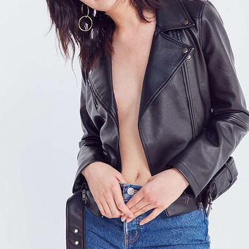 BDG Abigail Faux Leather Belted Moto Jacket | Urban Outfitters