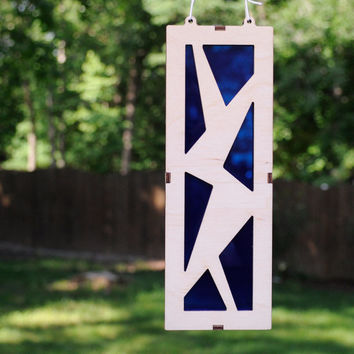 Abstract Suncatcher in Wood and Blue Acrylic - Wall Hanging Home Decor
