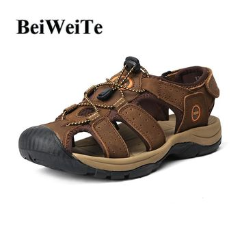 Hot sale Men's Sandals Autumn Male Hiking Fishing Big Size Sport Shoes Genuine Leather Safety Anti-collision Walking Beach Shoes