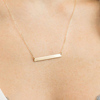 Gold Bar Necklace, 14k Gold Filled or Sterling Silver Small Perfect Bar Necklace, Dainty Nameplate Necklace / Personalized GLDN, GN111_25