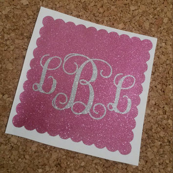Scalloped Square Monogram   Monogram Decal   Glitter Decal   Car Decal   Personalized Monogram   Yeti   Cup Decal   Decal   Monogram