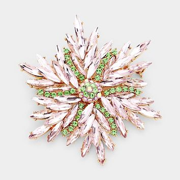 Marquise Stone Cluster Flower Pin Brooch
