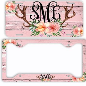 Pink Wood Watercolor License Plate Antlers Flowers License Plate Car Tag Monogram Frame Personalized Set Custom Initials Car Coasters Floral