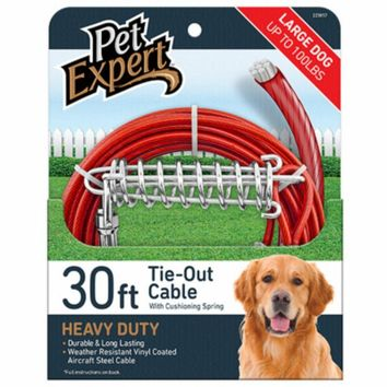 Pet Expert® PE223857 Heavy-Weight Steel Aircraft Dog Tie Out Cable, 30'