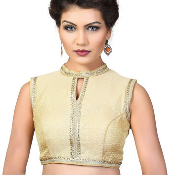 Saris and Things Gold Brocade Fancy Back Open Saree Blouse Choli SNT-X-379NS-GOLD