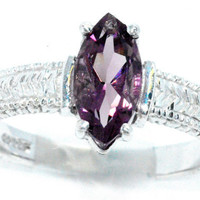 2 Carat Amethyst Marquise Ring .925 Sterling Silver Rhodium Finish White Gold Quality