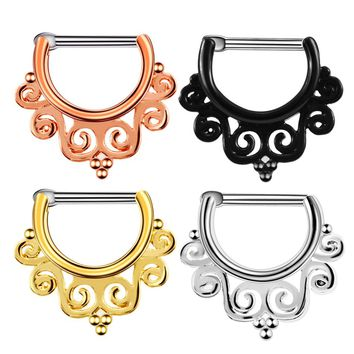SwanJo 1Pc Tribal Fan G23 Titanium Real Piercing Septo Septum Clicker Nose Ring Jewerly 16g Silver Black Rose Gold Body Jewelry