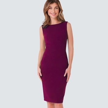 Casual Women Summer Sleeveless Elegant Sheath Slim Bodycon Office Business Pencil Dress HB454