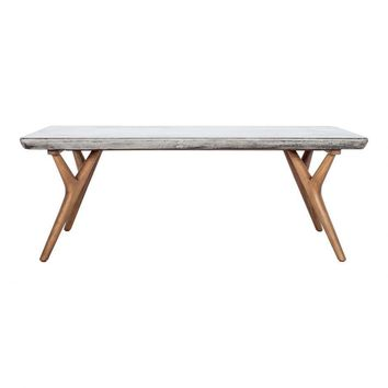 Amaris Mid Century Dining Table - Concrete and Natural Wood