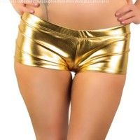 iHeartRaves Metallic Rave Booty Shorts (Large, Gold)
