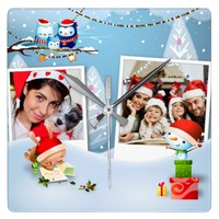 Souvenir Of Christmas Photo Frames Wall Clock