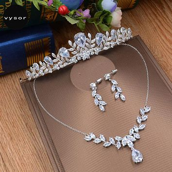 Cubic Zirconia Wedding Jewelry Sets Bridal Tiara Marquise-Cut Necklace Earrings Crown Sets