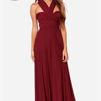 LULUS Exclusive Tricks of the Trade Burgundy Maxi Dress