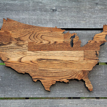 United States shape wood cutout sign wall art handcrafted from re-purposed Oak flooring 17 x 27 in. Wedding Country Cabin Rustic Gift Decor