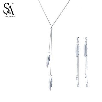 SA SILVERAGE 925 Sterling Silver Feather Jewelry Sets for Women Necklaces Pendants Drop Dangle Earrings Fine Jewelry 2017 Hot