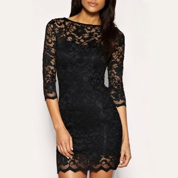 Black Women Sexy Lace Mini Dress Slash Neck Pencil Fit Cocktail Party Dress