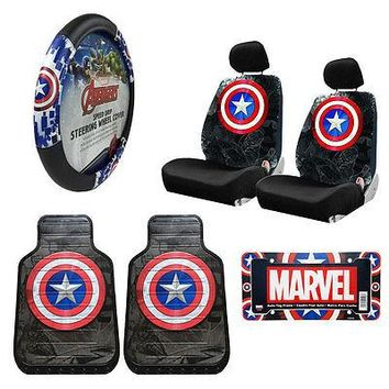 Licensed Official Captain America Car Truck Front Seat Covers Floor Mats Steering Wheel Cover Set