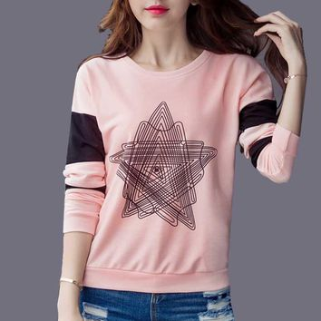Zuolunouba 2018 Autumn Preppy Style Women Hoodies Sweatshirt Thin Long Sleeve Fashion Geometric Star Pullovers Pink Cotton Tops