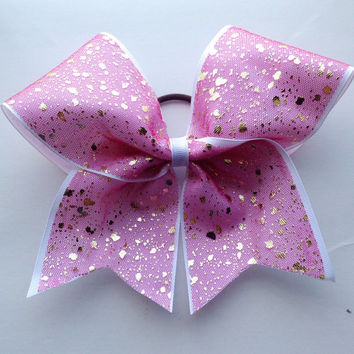 Pretty Pink and Gold Sparkle Cheer Bow