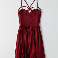 AEO Strappy Fit & Flare Dress, Burgundy