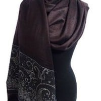 Peach Couture Women's Ravishing Reversible Jacquard Paisley Shawl Wrap Pashmina (Metallic Brown)