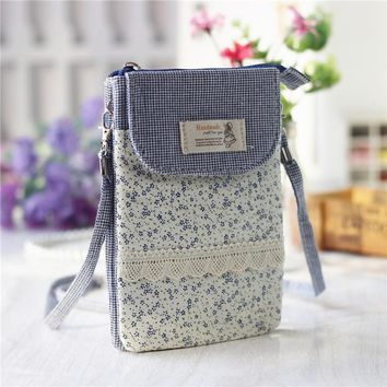 Cotton fabric floral printing women's organizer money wallet ladies coin purse small phone pouch carteira feminina for girls
