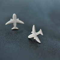 925 Sterling Silver Plane Stud Earring Jewelry Women Party Airplane Gift Engagement Cute Lady Aircraft Earring SYED031