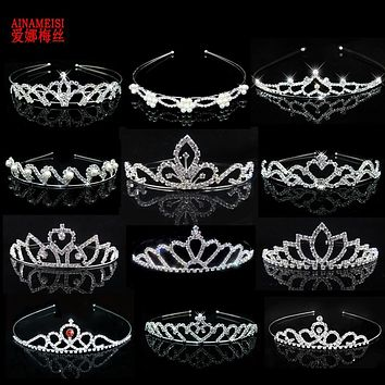 Wedding Bride Princess Crystal Tiaras and Crowns Headband Kid Girls Love Bridal Prom Crown Wedding Party Accessiories Hair Jewelry