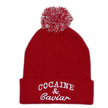 Cocaine & Caviar Pom Beanie Womens & Mens Warm Cotton Knitted Ski Cap Fashion Casual Red & White Cuffed Skully Hat