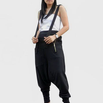 Extra large Trousers Bib Ninja Pants Suspender, Gaucho Unisex, Ribbed Cotton In Black Colour.