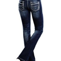 Rock & Roll Cowgirl® Women's Dark Wash Deco Embroidered Mid Rise Boot Cut Jean