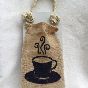 Coffee Cup Burlap/Wooden Sign